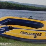 Barca pneumatica Intex Challenger 2, 236x114x41 cm pentru 2 persoane + vasle si pompa de umflare cadou