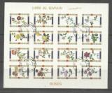 Umm al Qiwain 1973 Flowers, Roses, imperf. mini block, used T.366