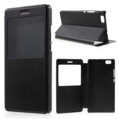 Husa Flip Cu Fereastra Si Stand Huawei Ascend P8 Lite Neagra