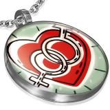 Cumpara ieftin Pandantiv rotund din oțel - inimă cu simbol masculin și feminin
