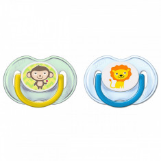 Set 2 suzete ortodontice din silicon 0-6 luni Philips Avent Fashion SCF196/18M, Multicolor