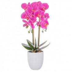 Aranjament Floral Orhidee Artificiala in Ghiveci cu 2 Tulpini, Aspect Natural, inaltime 55cm, Culoare Roz