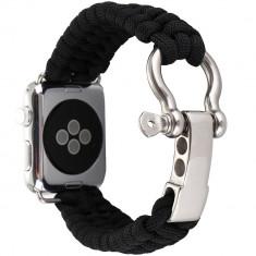 Cumpara ieftin Curea pentru Apple Watch 40 mm iUni Elastic Paracord Rugged Nylon Rope, Black