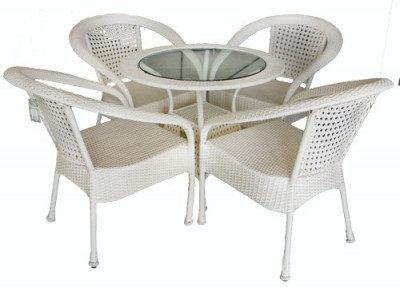Set mobilier gradina,terasa SIENA din ratan 5 piese masa rotunda si 4 scaune cu brate Raki foto