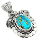 Cumpara ieftin Pandantiv bijuterie din argint 925 cu turcoaz albastru