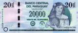 PARAGUAY █ bancnota █ 20000 Guaranies █ 2017 █ P-238c █ Serie H UNC necirculata