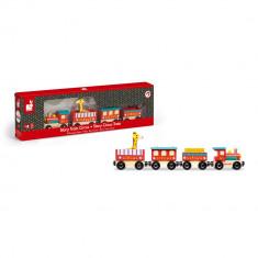 Trenulet de lemn cu locomotiva, 4 vagoane si o girafa Janod