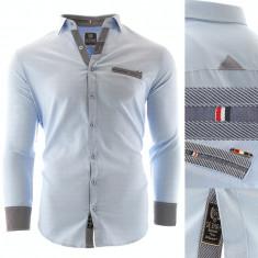 Camasa pentru barbati, bleu, Slim fit, casual, cu guler - Pompei, L, M, S, XL, Maneca lunga