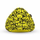Cumpara ieftin Fotoliu Units Puf (Bean Bag) tip para, impermeabil, cu maner, 80 x 90 x 68 cm, smiley galben