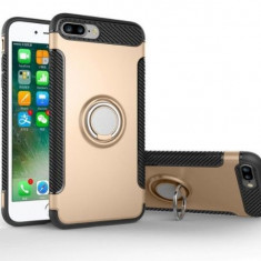 iPhone 7 sau 8 - Husa Gold Carbon Cu Inel Rotativ