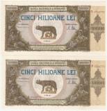 ROMANIA 2 X 5000000 LEI 1947 UNC CONSECUTIVE