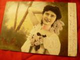 Ilustrata circ.1905 cu 5 bani Spic de Grau -Femeie cu flori in par, Circulata, Printata