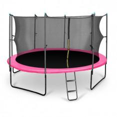 KLARFIT Rocketgirl 430, 430 cm trambulină, plasă internă de securitate, scară largă, roz