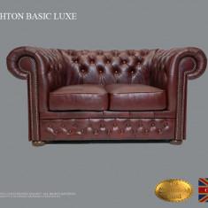 Canapea Chesterfield Basic Lux , 2 locuri , Cloudy Red, Piele naturală
