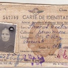 bnk  div CFR - carte de identitate salariat ( pensionar )  CFR - cls III - 1955