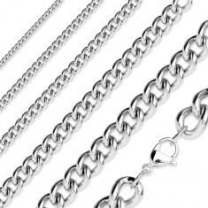 Lanț argintiu din oțel chirurgical, zale eliptice