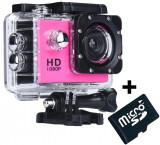 Cumpara ieftin Camera Sport iUni Dare 50i HD 1080P, 12M, Waterproof, Roz + Card MicroSD 8GB Cadou