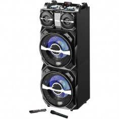 Boxa activa fixa akai dj-t5 dual usb card sd bluetooth microfon wireless si telecomanda 300w