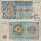 1974 ( 22 VI ) , 10 zaïres ( P-23a.2 ) - Zair