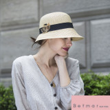 Palarie Betmar Franoise Braided Cloche Natural - Cod 34604612599
