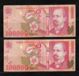 ROMANIA - LOT DOUA  BANCNOTE 100000 100 000 LEI, CIRCULATE