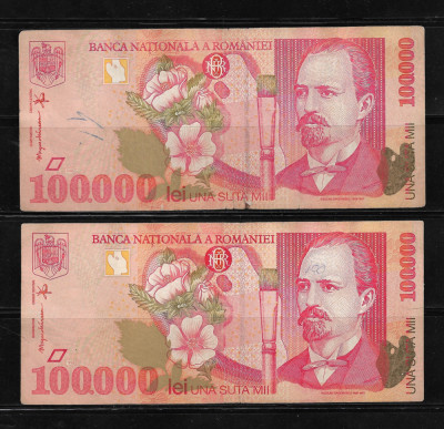 ROMANIA - LOT DOUA  BANCNOTE 100000 100 000 LEI, CIRCULATE foto