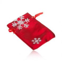 Săculeț de cadou de culoare roșie, fulgi de nea albi
