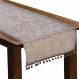 Traversa de masa, model runner cu ciucuri, 35×140 cm, gri