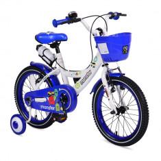 Bicicleta pentru baieti cu roti ajutatoare si cosulet 16 inch Little Monster Blue