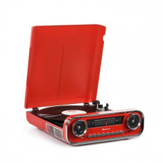 Auna Challenger, LP gramofon, bluetooth, FM Radio, USB, roșu