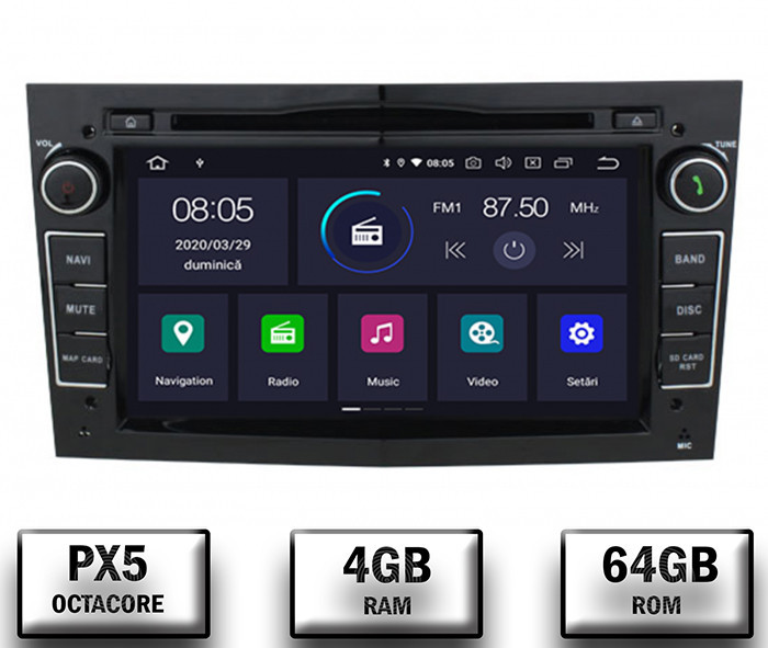 Navigatie Opel, Android 10, Octacore PX5 4GB RAM si 64GB ROM cu DVD, 7 Inch - AD-BGWOPL7P5-B