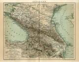 Harta a Caucazului( Kaukasien) ~ 1895