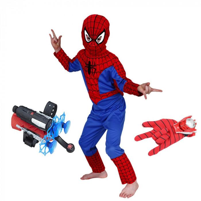 Set costum Spiderman S 100 110 cm lansator cu ventuze si manusa cu discuri