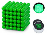 Joc Bile Magnetice NeoCube Antistres, 216 piese, Diametru Bile 3mm, verde fluorescent