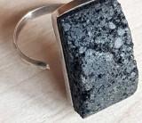Inel ROCA VULCANICA - Inel reglabil argint masiv 925 - bijuterii vintage