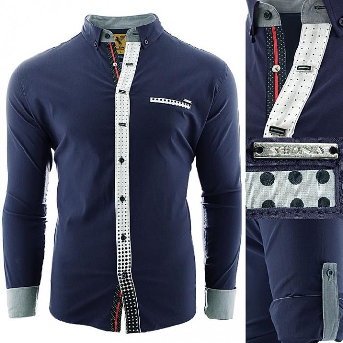 Camasa pentru barbati, bleumarin, elastica, casual - Sedna