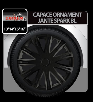 Capace ornament jante Spark BL 4buc - Negru - 13' - CRD-VER1301BL Auto Lux Edition