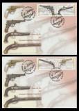 2008 Romania, 2 FDC Arme de foc din Muzeul Militar LP 1794, plicuri prima zi