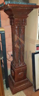 """PIEDESTAL din LEMN, Sculptat In Stil """"NEOBRANCOVENESC"""", H = 104cm. foto"""