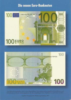 Germania, carte poştală de popularizare a bancnotelor de 100 euro, necirculată foto