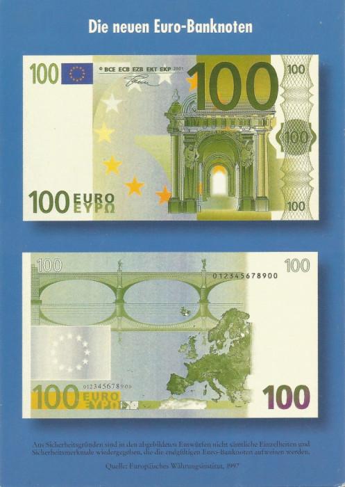 Germania, carte poştală de popularizare a bancnotelor de 100 euro, necirculată