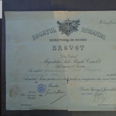Brevet - medalia Avantul tarii pt campania din 1913 - semnat generalul Harjeu