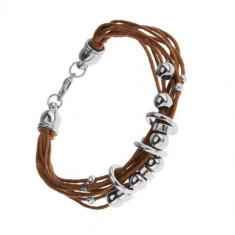 Brățară cu șnururi, culoare maro deschis, cercuri și mărgele din oțel și lemn
