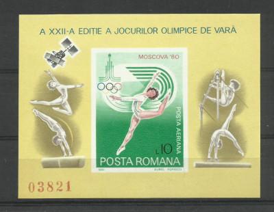 Romania MNH 1980 - Jocurile Olimpice JO Moscova Gimnastica Sport - LP 1013 foto