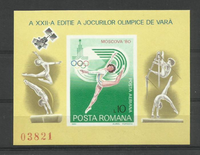 Romania MNH 1980 - Jocurile Olimpice JO Moscova Gimnastica Sport - LP 1013