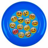Disc zburator frisbee,model emoji, 23cm, albastru