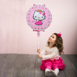 Balon Hello Kitty roz, diametru 45 cm, din folie umplere aer sau heliu