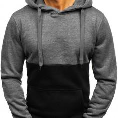 Bluză pentru bărbat cu glugă grafit-neagră Bolf TR10