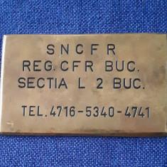 Plachetă CFR - SNCFR - Bucuresti