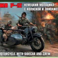 1:35 German motorcicle R-12 with sidecar and crew 1:35
